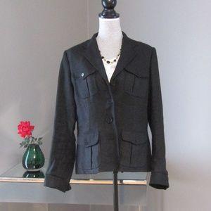 Lauren Ralph Lauren Black 100% Linen Blazer Jacket